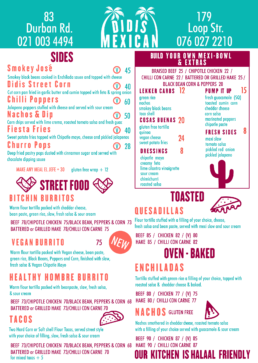 Didis Mexican Takeaway Menu